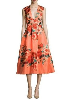 Lela Rose Floral Sleeveless V-Neck Midi Dress