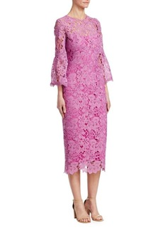 Lela Rose Flounce-Sleeve Lace Sheath Dress