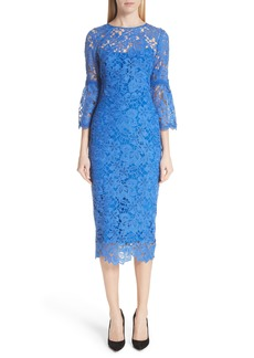 Lela Rose Flounce Sleeve Lace Sheath Dress