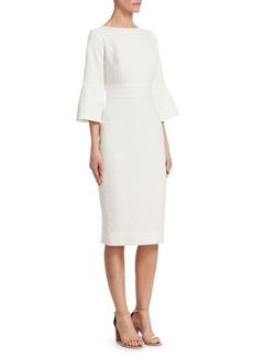 Lela Rose Flounce-Sleeve Textured Sheath Dress