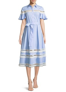 Lela Rose Flutter-Sleeve Button-Down Cotton Pinstripe Shirtdress w/ Fringe Trim