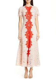 Lela Rose Flutter Sleeve Contrast Lace Maxi Dress