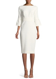 Flutter-Sleeve Fitted Jacquard Sheath Dress
