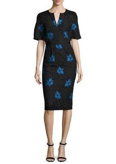 Lela Rose Flutter-Sleeve Floral Lace Sheath Dress