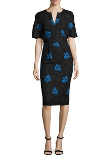 Lela Rose Flutter-Sleeve Floral Lace Sheath Dress