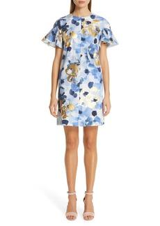 Lela Rose Flutter Sleeve Floral Stamped Cotton Dress