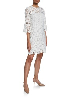 Lela Rose Flutter-Sleeve Lace-Illusion Tunic Dress