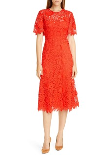 Lela Rose Flutter Sleeve Lace Midi Dress