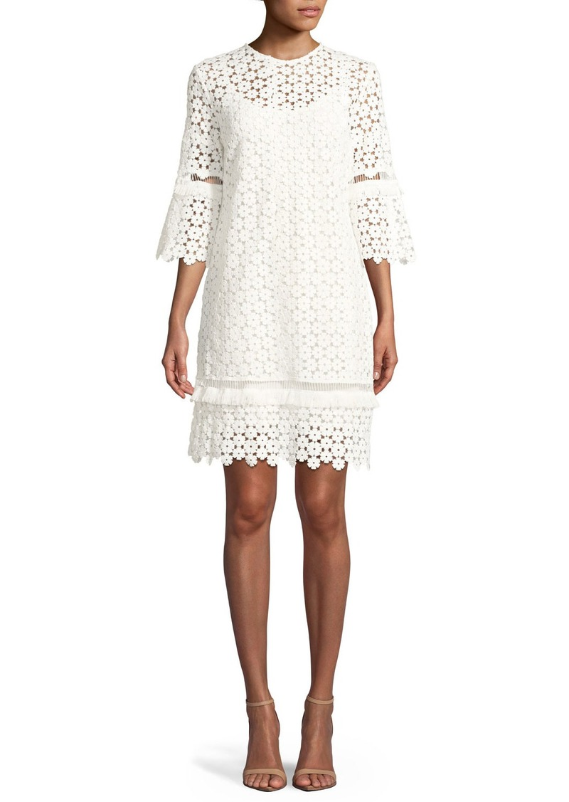 Lela Rose Flutter-Sleeve Shift Floral-Lace Tunic Dress