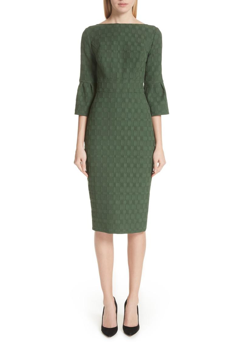 Lela Rose Flutter Sleeve Stretch Jacquard Sheath Dress