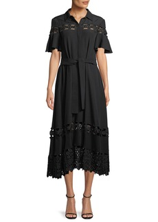 Lela Rose Flutter-Sleeve Textured Silk Cloque Shirtdress with Lace Inset