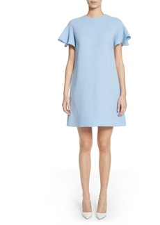 Lela Rose Flutter Sleeve Wool Blend Shift Dress