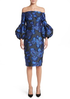 Lela Rose Fring Brocade Puff Sleeve Dress