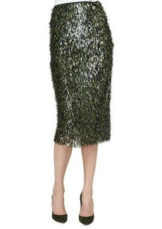 Lela Rose Fringe Embellished Pencil Skirt