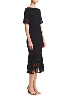 Lela Rose Fringe Flounce Hem Sheath Dress