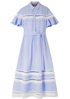 Lela Rose Fringed lattice-trimmed striped cotton-poplin midi dress