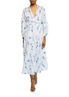Lela Rose Full-Sleeve V-Neck Dress