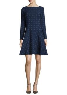 Lela Rose Geometric-Jacquard Long-Sleeve Dress