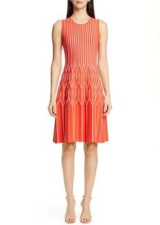 Lela Rose Geometric Pleat Sweater Dress