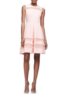 Lela Rose Grace Full-Skirt Fringe-Trim Dress