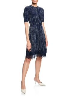Lela Rose Grid Lace-Hem Knit Dress