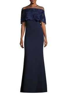 Lela Rose Guipure Lace-Capelet Illusion Gown
