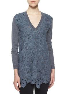Lela Rose Guipure Lace Knit V-Neck Top