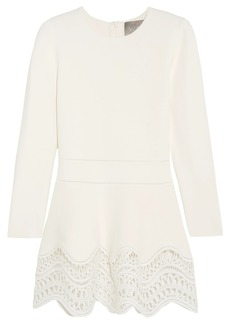 Lela Rose Guipure lace-paneled ponte top