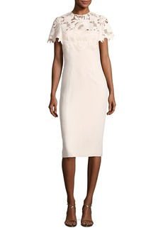 Lela Rose Guipure Lace Sheath Dress