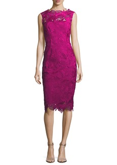 Lela Rose Guipure Lace Sleeveless Sheath Dress