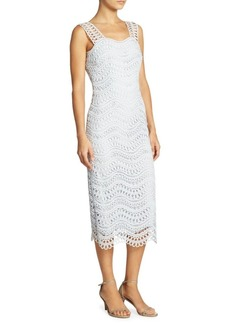 Lela Rose Guipure Wave Lace Sheath Dress