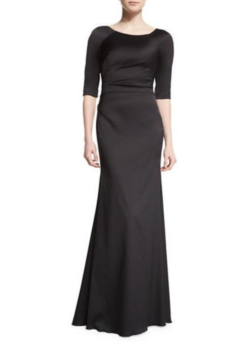 Lela Rose Half-Sleeve Bateau-Neck Mermaid Gown