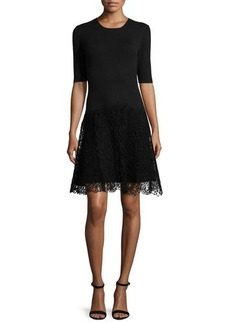 Lela Rose Half-Sleeve Combo Sheath Dress