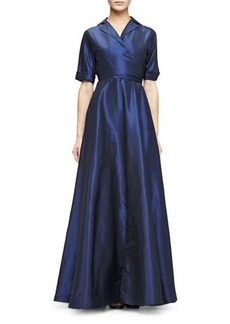 Lela Rose FAUX WRAP GOWN IN TAFFETA
