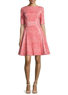 Lela Rose Half-Sleeve Fit-&-Flare Dress