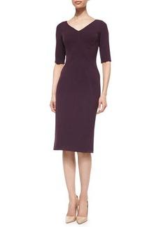 Lela Rose Half-Sleeve Fitted Sheath Dress
