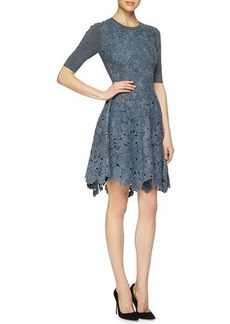 Lela Rose Half-Sleeve Floral-Lace Combo Dress