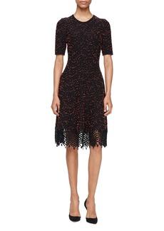 Lela Rose Half-Sleeve Knit Lace-Hem Dress
