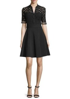Lela Rose Half-Sleeve Lace-Bodice Shirtdress