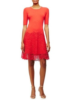 Lela Rose Half-Sleeve Lace-Hem Dress