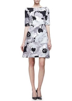 Lela Rose Half-Sleeve Oversize-Floral Dress