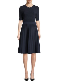 Lela Rose Half-Sleeve Scalloped Knit Dress