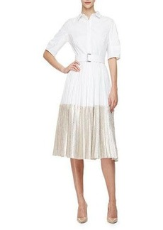 Lela Rose Half-Sleeve Two-Tone Midi Shirtdress