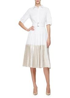 Lela Rose Half-Sleeve Two-Tone Midi Shirtdress
