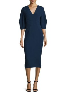 Lela Rose Half-Sleeve V-Neck Midi Dress