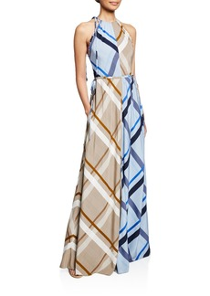 Lela Rose Halter Colorblocked Checked Gown