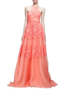 Lela Rose Halter-Neck Floral-Corded Gown