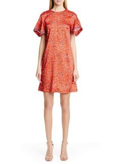 Lela Rose Handkerchief Sleeve Floral Print Minidress