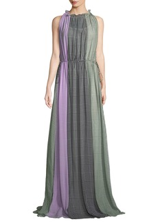 Lela Rose High Halter-Neck Sleeveless Ruched Plaid Silk Gown