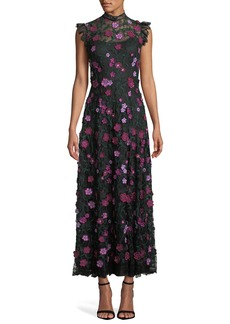 Lela Rose High-Neck Sleeveless A-Line Long Floral-Lace Evening Dress